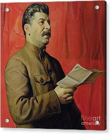 Portrait Of Stalin Acrylic Print by Isaak Israilevich Brodsky