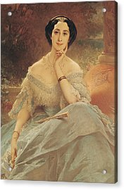 Portrait Of The Countess Of Hallez-claparede Acrylic Print by Edouard Louis Dubufe