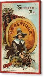 Postcard Of Pilgrim Plucking A Turkey Acrylic Print by American School