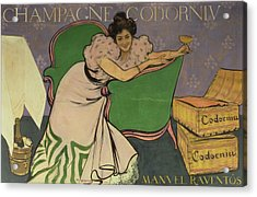 Poster Advertising Codorniu Champagne  Acrylic Print by Ramon Casas i Carbo