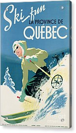 Poster Advertising Skiing Holidays In The Province Of Quebec Acrylic Print by Canadian School