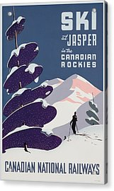 Poster Advertising The Canadian Ski Resort Jasper Acrylic Print by Canadian School