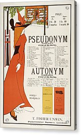 Poster For 'the Pseudonym And Autonym Libraries' Acrylic Print by Aubrey Beardsley
