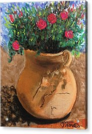 Pot Full Of Roses Acrylic Print by Melissa Torres