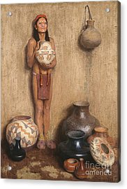 Pottery Vendor Acrylic Print by Celestial Images