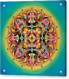 Power - Throat Chakra Mandala Acrylic Print by Vikki Reed
