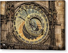 Prague Astronomical Clock Acrylic Print by Joan Carroll