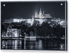 Prague Castle At Night Acrylic Print by Joan Carroll