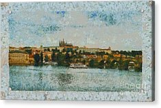 Prague Castle Over The River Acrylic Print by Dana Hermanova