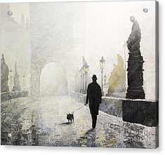 Prague Charles Bridge Morning Walk 01 Acrylic Print by Yuriy Shevchuk