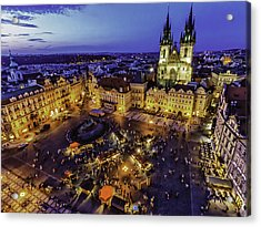 Prague Cityscape At Dusk Staromestski Namesti Acrylic Print by Valerii Tkachenko