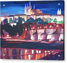 Prague - Hradschin With Charles Bridge Acrylic Print by M Bleichner