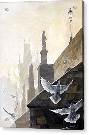 Prague Morning On The Charles Bridge  Acrylic Print by Yuriy Shevchuk