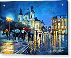 Prague Old Town Square  View Of Street Parizska And St.nicolas Church Acrylic Print by Yuriy Shevchuk
