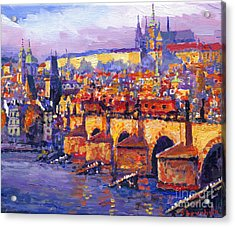 Prague Panorama Charles Bridge 06 Acrylic Print by Yuriy Shevchuk