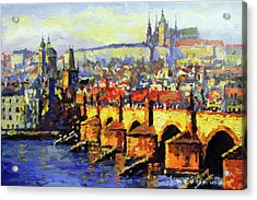 Prague Panorama Charles Bridge Acrylic Print by Yuriy Shevchuk