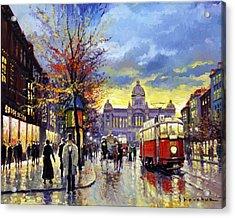 Prague Vaclav Square Old Tram Imitation By Cortez Acrylic Print by Yuriy  Shevchuk
