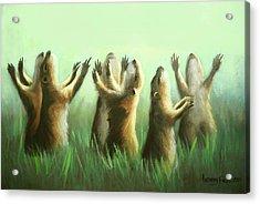 Praising Prairie Dogs Acrylic Print by Anthony Falbo