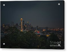 Pre-dawn Seattle Acrylic Print by Gene Garnace