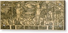 Presentation Drawing Of The Automotive Panel For The North Wall Of The Detroit Industry Mural Acrylic Print by Diego Rivera