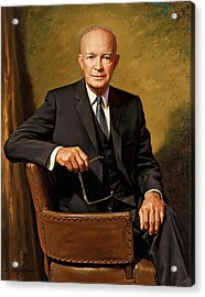 President Dwight D. Eisenhower By J. Anthony Wills Acrylic Print by Movie Poster Prints