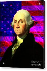 President George Washington V2 M123 Acrylic Print by Wingsdomain Art and Photography