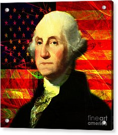 President George Washington V2 M20 Square Acrylic Print by Wingsdomain Art and Photography