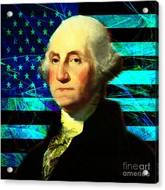 President George Washington V2 P138 Square Acrylic Print by Wingsdomain Art and Photography