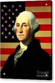 President George Washington V3 Acrylic Print by Wingsdomain Art and Photography