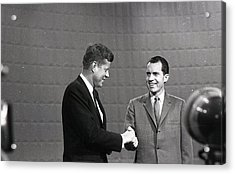 President John Kennedy And President Richard Nixon In The 1960 Debate Acrylic Print by Retro Images Archive