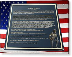 President Ronald Reagan Plaque Acrylic Print by Thomas Woolworth