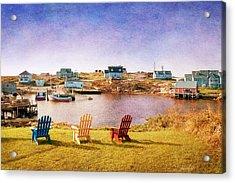 Primary Chairs - Digital Art Acrylic Print by Renee Sullivan