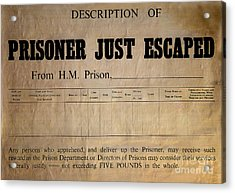 Prisoner Escaped Acrylic Print by Adrian Evans