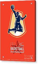 Pro Am Basketball Invitational Retro Poster Acrylic Print by Aloysius Patrimonio