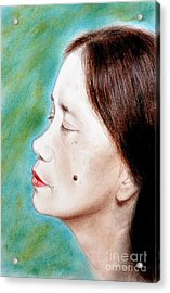 Profile Of A Filipina Beauty With A Mole On Her Cheek  Acrylic Print by Jim Fitzpatrick
