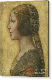 Profile Of A Young Fiancee Acrylic Print by Leonardo Da Vinci
