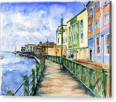 Promenade In Barbados Acrylic Print by John D Benson