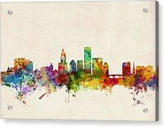 Providence Rhode Island Skyline Acrylic Print by Michael Tompsett
