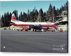 Psa Lockheed L188c Electra   N171p Cindy Lake Tahoe Airport Acrylic Print by Wernher Krutein