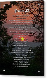 Psalm 23 Prayer Over Sunset Landscape Acrylic Print by Christina Rollo