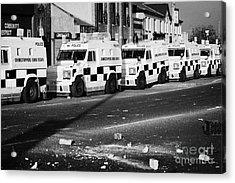 Psni Armoured Land Rovers And Debris On Crumlin Road At Ardoyne Shops Belfast 12th July Acrylic Print by Joe Fox