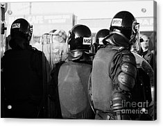 Psni Officers In Riot Gear With Crowd On Crumlin Road At Ardoyne Shops Belfast 12th July Acrylic Print by Joe Fox
