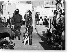 Psni Riot Officers And Dog Handler And Armed Soldiers On Crumlin Road At Ardoyne Shops Belfast 12th  Acrylic Print by Joe Fox