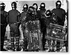 Psni Riot Officers Tend To Injured Colleague During Riot On Crumlin Road At Ardoyne Shops Belfast 12 Acrylic Print by Joe Fox