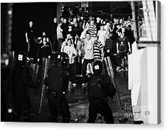 Psni Riot Police Face Angry Mob Of Rioters On Crumlin Road At Ardoyne Shops Belfast 12th July Acrylic Print by Joe Fox