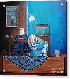 Psychiatrist Sitting In Chair Studying Spider's Reaction Acrylic Print by John Lyes
