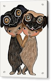 Pug Brothers Acrylic Print by Beatrice Ajayi
