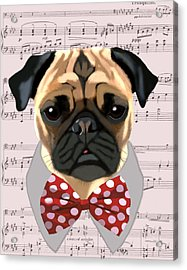 Pug With Bow Tie Acrylic Print by Kelly McLaughlan