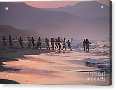 Pulling In The Net In Veracruz Mexico Acrylic Print by Linda Queally