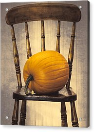 Pumpkin On Chair Acrylic Print by Amanda And Christopher Elwell